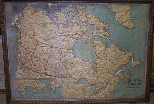 Map Antique Relief Map Of Canada - Relief map of canada