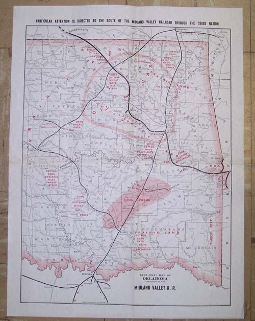 Maps Antique United States US States Oklahoma