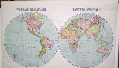 Map Antique Western Hemisphere Eastern Hemisphere