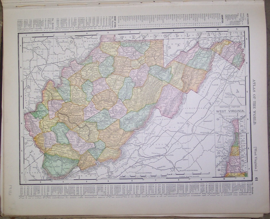 Maps Antique United States US States West Virginia