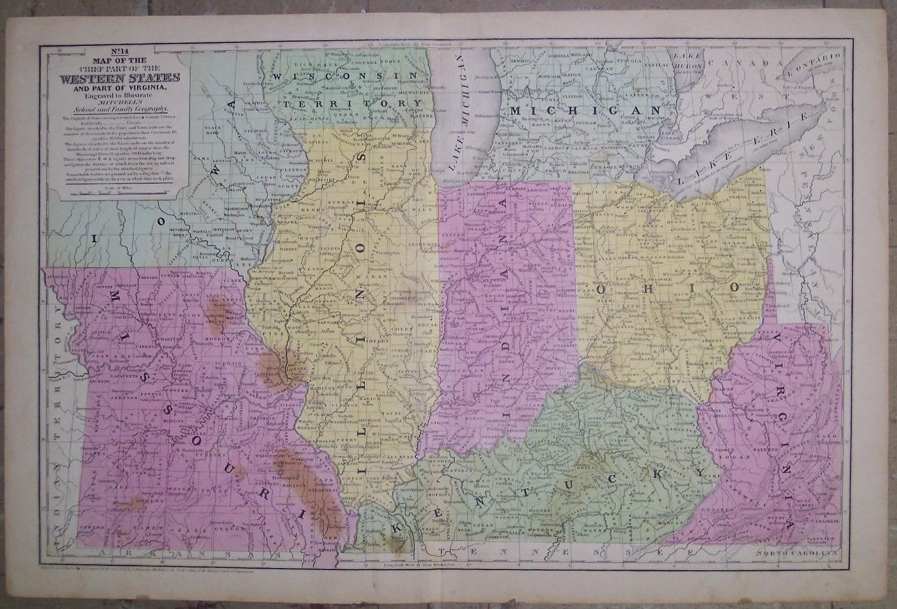 Maps Antique United States US States