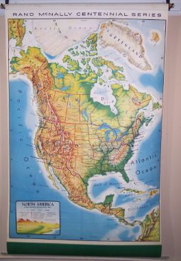 Map Antique North America A Rand McNally Merged Relief Map - North america relief map