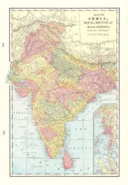Map Antique Map Of India Nepal Bhutan And Malay Peninsula