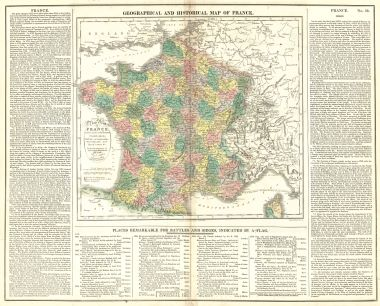 Map Antique Geographical And Statistical Map Of France A New Map Of