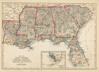 Map Antique Map of South Carolina Georgia Florida Alabama ...