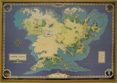 Map Antique An artist's interpretation of Middle Earth including