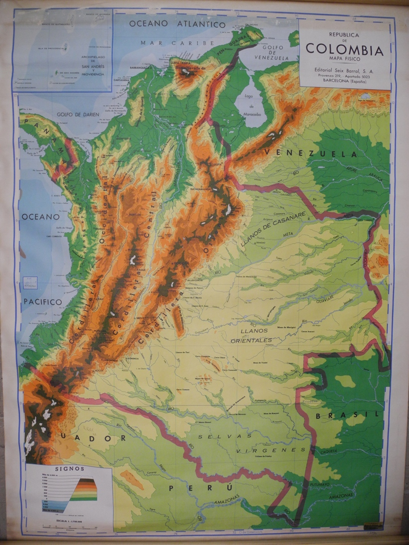 Maps Antique Country Colombia