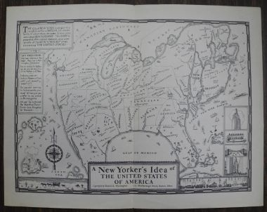 Map Antique A New Yorker S Idea Of The United States Of America