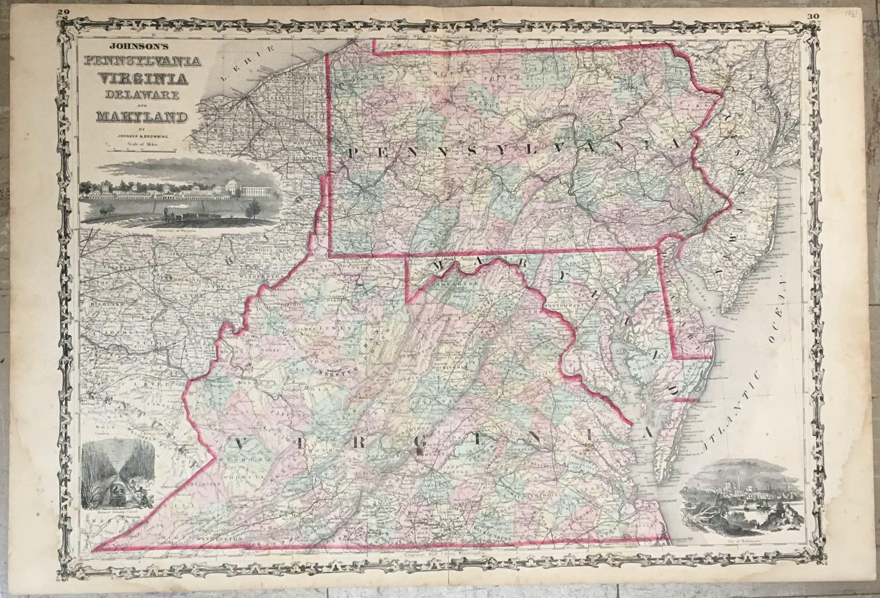 Maps Antique United States US States Delaware