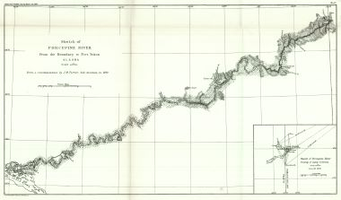 Fort Yukon Alaska Map.Map Antique Sketch Of Porcupine River From The Boundary To Fort