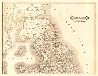 Map Of England Edinburgh.Map Antique England With All The Railways Published By W H Lizars