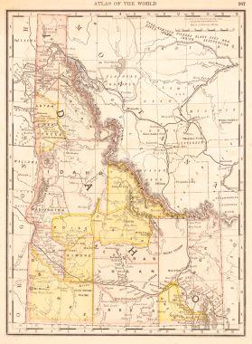 Map Antique Rand McNally Co.'S New Family Atlas Map of Idaho. on maine's map, california's map, idaho welfare map, oklahoma's map, idaho bureau of land management map, washington's map, saw hills of idaho map, idaho hunters map, idaho campgrounds map, oregon map, idaho farmland map, idaho county map, north idaho map,
