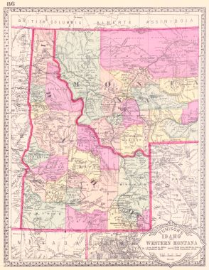 Map Antique Tunison\'s Idaho and Western Montana