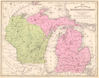 Michigan And Wisconsin Map.Map Antique No 15 Map Of The States Of Michigan Wisconsin