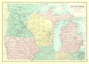 Map Antique Western States Michigan Wisconsin Minnesota Iowa ... on map of illinois cities, map of west virginia and tennessee, map of iowa freedom rock in the tour, map of iowa small towns, iowa state map illinois, map of bridges of madison county iowa, map of iowa online, map of quad cities and surrounding area, map of dubuque iowa, map of church camps in illinois, big map of illinois, map of iowa casinos, street map clinton illinois, map of quincy illinois, map of iowa print, map of missouri, map of the state of iowa, oakland city hall illinois, map of minnesota iowa border, map of iowa counties,