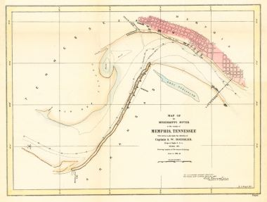 Map Antique Map of the Mississippi River in the Vicinity of Memphis ...