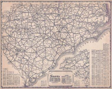Map Antique Sears Official Road Map North Carolina South Carolina