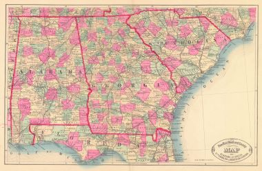 Map Of Georgia Florida And Alabama.Map Antique New Railroad And County Map Of Alabama Georgia South