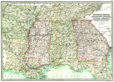 Map Antique Tennessee Georgia Mississippi Louisiana Alabama - Map of northern florida