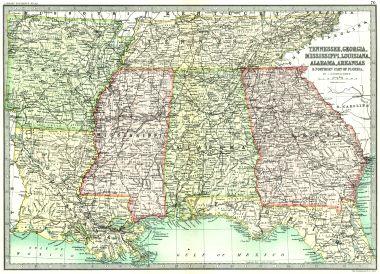Map Antique Tennessee Georgia Mississippi Louisiana Alabama Arkansas
