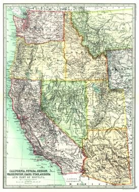 Map Antique Pacific States California Nevada Oregon Washington Idaho