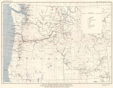 Map Antique Map Of Idaho Oregon And Washington